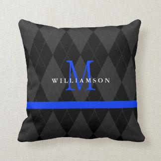 Thin Blue Line Monogram Black Argyle Pattern Pillow