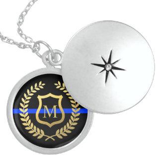 Thin Blue Line Monogram Faux Gold Shield Wreath Round Locket Necklace