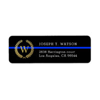 Thin Blue Line Monogram Faux Gold Wreath Address Label