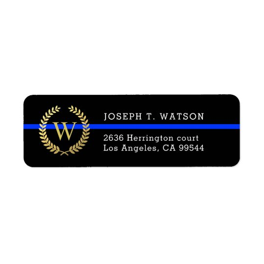 thin blue line monogram faux gold wreath address label zazzle com