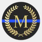 Thin Blue Line Monogram Faux Gold Wreath Police Classic Round Sticker