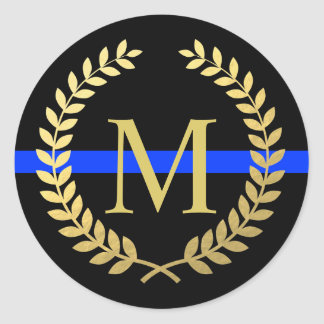 Thin Blue Line Monogram Faux Gold Wreath Police Classic Round Sticker