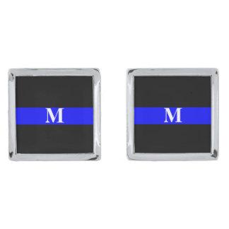 Thin Blue Line Monogram Silver Cufflinks