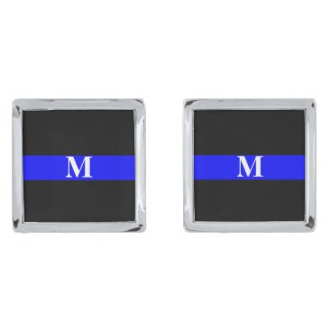 Christmas Themed Thin Blue Line Monogram Silver Cufflinks