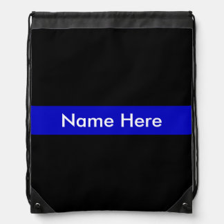 Thin Blue Line Name Customized Drawstring Bag