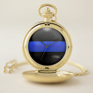 Thin Blue Line Never Forget Pocket Watch