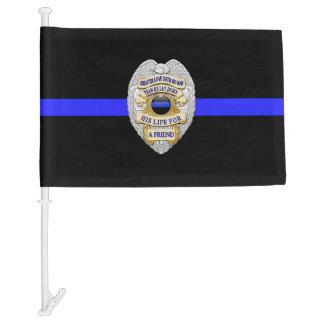 Thin Blue Line No Greater Love Badge Car Flag