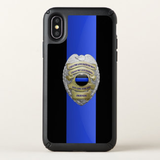 Thin Blue Line- No Greater Love Badge Speck iPhone X Case