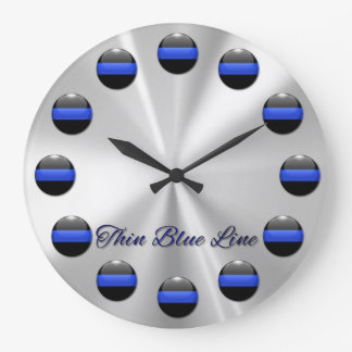 Thin Blue Line Numerals Large Clock