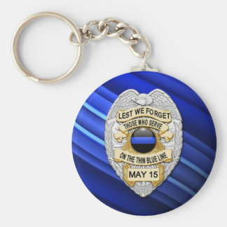 Thin Blue Line - Officers Memorial Badge Keychain