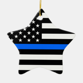 """THIN BLUE LINE ON AMERICAN FLAG"" CERAMIC ORNAMENT"