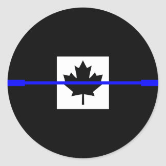 Thin Blue Line on Canadian Flag Decor Classic Round Sticker