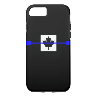 Thin Blue Line on Canadian Flag Decor iPhone 7 Case