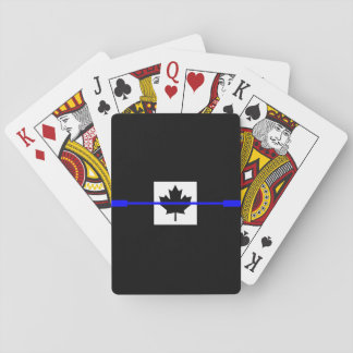 Thin Blue Line on Canadian Flag Decor Poker Cards