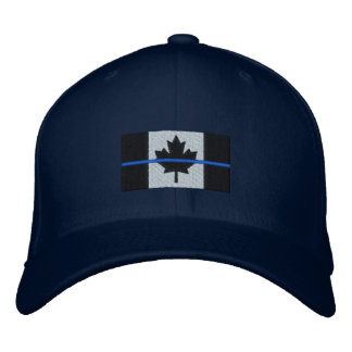 Thin Blue Line on Canadian Flag Embroidered Baseball Hat