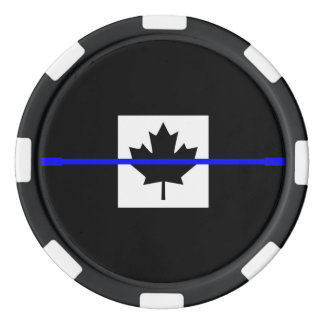 Thin Blue Line on Canadian Flag Poker Chips Set