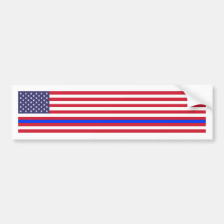 """THIN BLUE LINE on FLAG"" Bumper Sticker"
