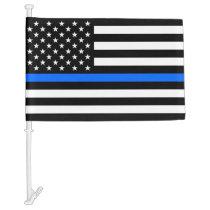 """""""THIN BLUE LINE on FLAG"""" Car Flag"""