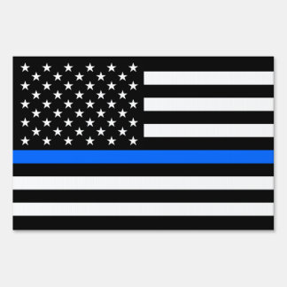 """THIN BLUE LINE on FLAG"" (DOUBLE-SIDED) Lawn Sign"
