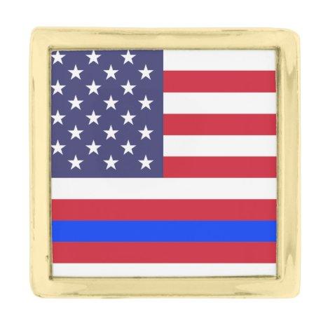 """THIN BLUE LINE on FLAG"" Gold Finish Lapel Pin"