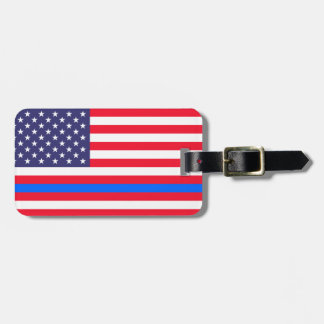 """THIN BLUE LINE on FLAG"" Luggage Tag"