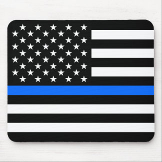 """""""THIN BLUE LINE on FLAG"""" Mouse Pad"""