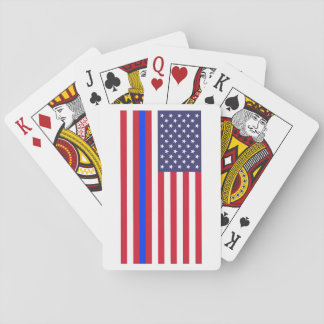 """""""THIN BLUE LINE on FLAG"""" Playing Cards"""
