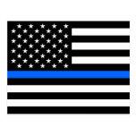 """THIN BLUE LINE on FLAG"" Postcard"