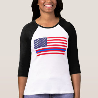 """THIN BLUE LINE on FLAG"" T-Shirt"