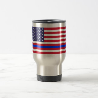 """THIN BLUE LINE on FLAG"" Travel Mug"