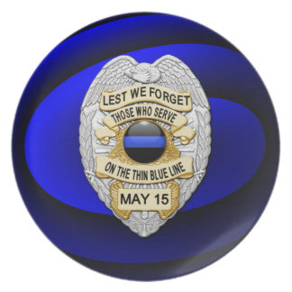 Thin Blue Line One-of-a-Kind Dinner Plate