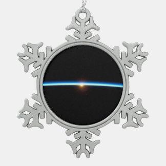 Thin Blue Line Snowflake Pewter Christmas Ornament