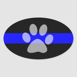 Thin Blue Line Oval Sticker (Set of 4) - K9