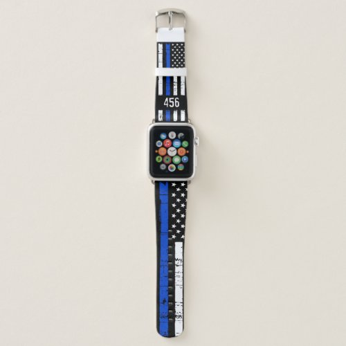 Thin Blue Line Personalized Badge Number Police Apple Watch Band