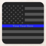 """Thin Blue Line Personalized Black US Flag Square Paper Coaster<br><div class=""""desc"""">A Thin Blue Line symbolic Grey US flag design graphic paper coaster. A great gift idea for gatherings, memorial celebrations and remembrance occasions. Personalize it with your text. Here&#39;s a fine line up of custom blue line design styles available on embroidered casual baseball caps for everyone. Use the &quot;Ask this...</div>"""