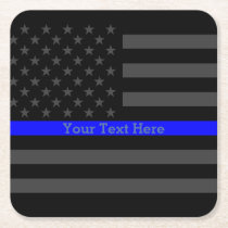 Thin Blue Line Personalized Black US Flag Square Paper Coaster