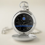 "Thin Blue Line Pocket Watch<br><div class=""desc"">The Thin Blue Line is a symbol used by law enforcement.</div>"