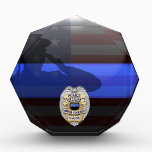 "Thin Blue Line - Police 20 Yr Award Plaque<br><div class=""desc"">Customize this beautiful gift with your own text to suit the circumstances. This original Police 20 Yr Award Plaque badge artwork was designed specifically for law enforcement officers. It makes a wonderful gift for all of the usual gift occasions but also in acknowledgement of personal achievement, recognition, promotion or retirement....</div>"