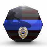 Thin Blue Line - Police 20 Yr Award Plaque<br><div class='desc'>Customize this beautiful gift with your own text to suit the circumstances. This original Police 20 Yr Award Plaque badge artwork was designed specifically for law enforcement officers. It makes a wonderful gift for all of the usual gift occasions but also in acknowledgement of personal achievement, recognition, promotion or retirement....</div>