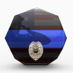"""Thin Blue Line - Police Anniversary Customize It Acrylic Award<br><div class=""""desc"""">Customize this beautiful gift with your own text to suit the circumstances. This original customizable Police Award Plaque badge artwork was designed specifically for law enforcement officers. Add your own anniversary years to the badge. It makes a wonderful gift for all of the usual gift occasions but also in acknowledgement...</div>"""