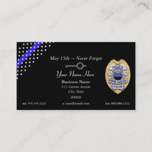 thin blue line police badge handcuff key business card - Police Business Cards