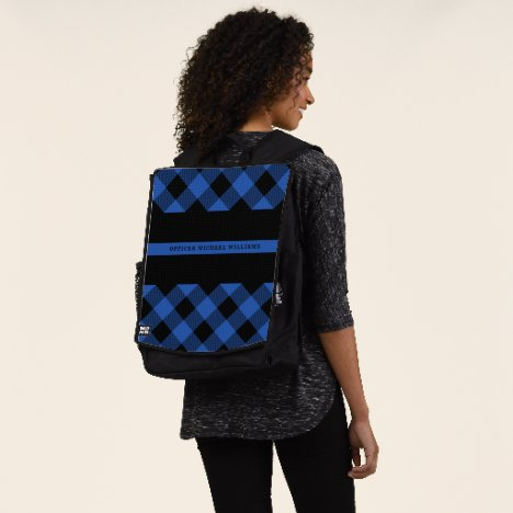 Thin Blue Line Police Buffalo Plaid Monogram Backpack