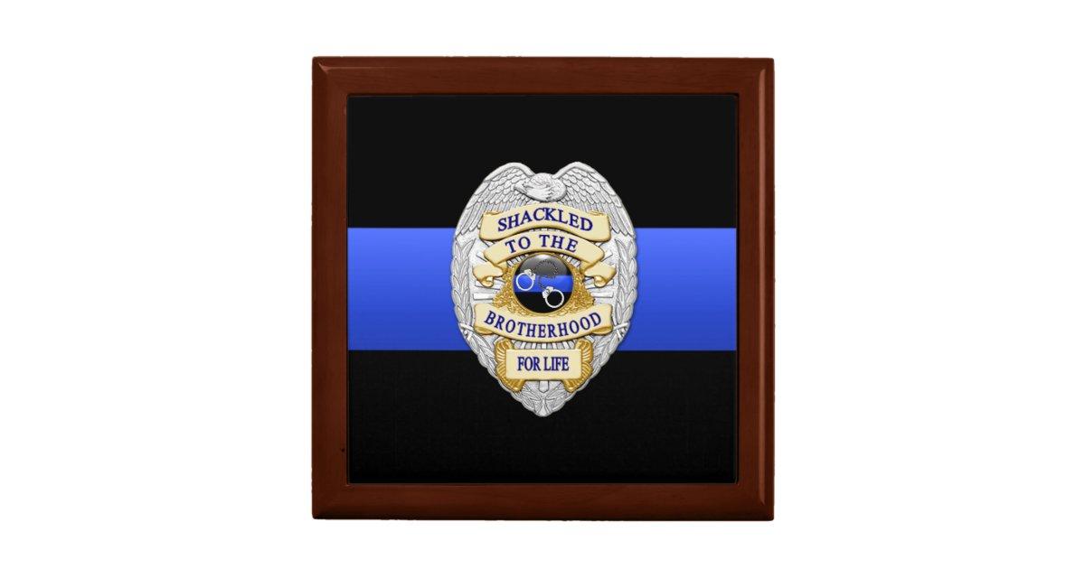 Thin Blue Line Police Challenge Coin Box Zazzle Com