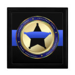Thin Blue Line - Police Challenge Coin Box Keepsake Boxes