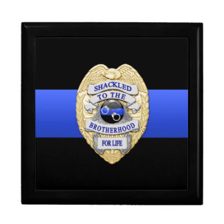 Thin Blue Line - Police Challenge Coin Box Trinket Boxes