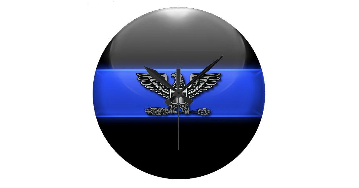 Thin Blue Line Police Chief Eagle Insignia Large Clock