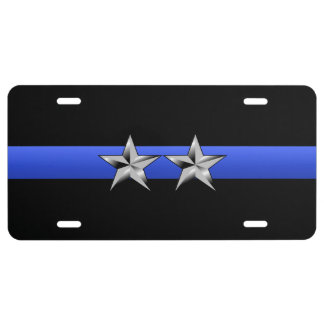 Thin Blue Line - Police Chief Rank Insignia License Plate