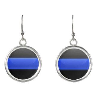 Thin Blue Line Police Earrings