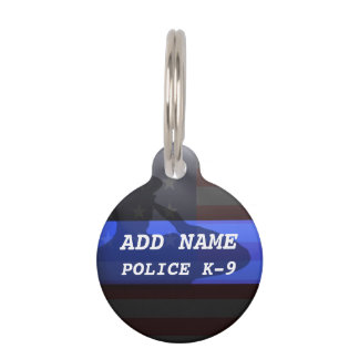 Thin Blue Line Police K9 Dog Tag