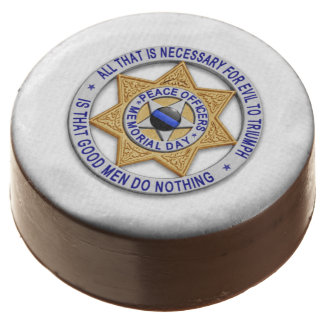 Thin Blue Line Police LEO Party Dessert Chocolate Covered Oreo